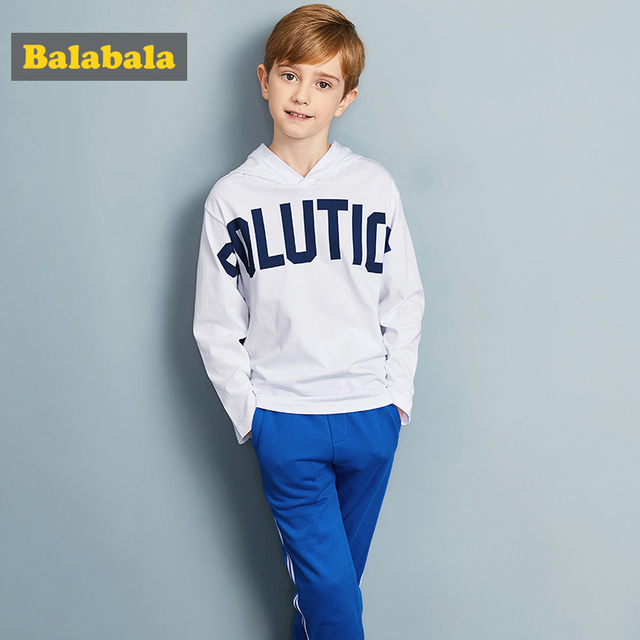Balabala tracksuit for boys hooded coat spring boys clothes fashion children clothing set Teens sports Long Sleeve Sets For Boys 3