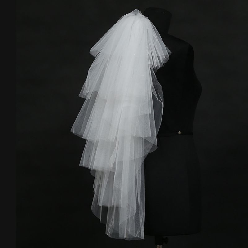 Tulle Wedding Dress Veils Fluffy White Multi Layer Bridal Hair Veil Comb Bride Fairy Marriage Accessory