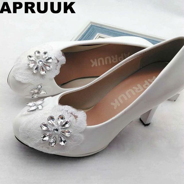 999adea67c7512 High heels white wedding shoes women bride pumps shoes plus size handmade  lace silver rhinestones bridesmaid shoes in stock