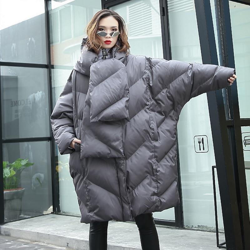 Grande Manteau gray Femmes Surdimensionné Black Nouvelle Longue D'hiver Parka Veste blue Écharpe Rembourré 2019 Lâche Col Chapeau Coton Taille Arrivée BCoWdxre