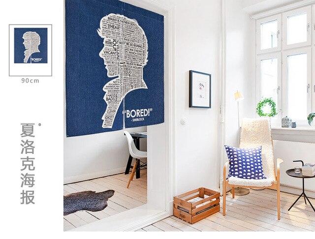 Japan Stil Leinen Baumwolle Poster Sherlock Tur Vorhang Dekoration Hangen Schlafzimmer Wohnzimmer Kuche Home Bar Kaffeehaus