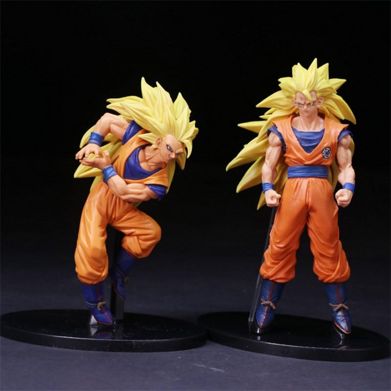 Anime Dragon Ball Z Super Saiyan 3 Son Goku Fight Statue PVC Figure Model Doll