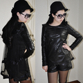 women's new loose long sleeves patchwork PU leather shirt blouse