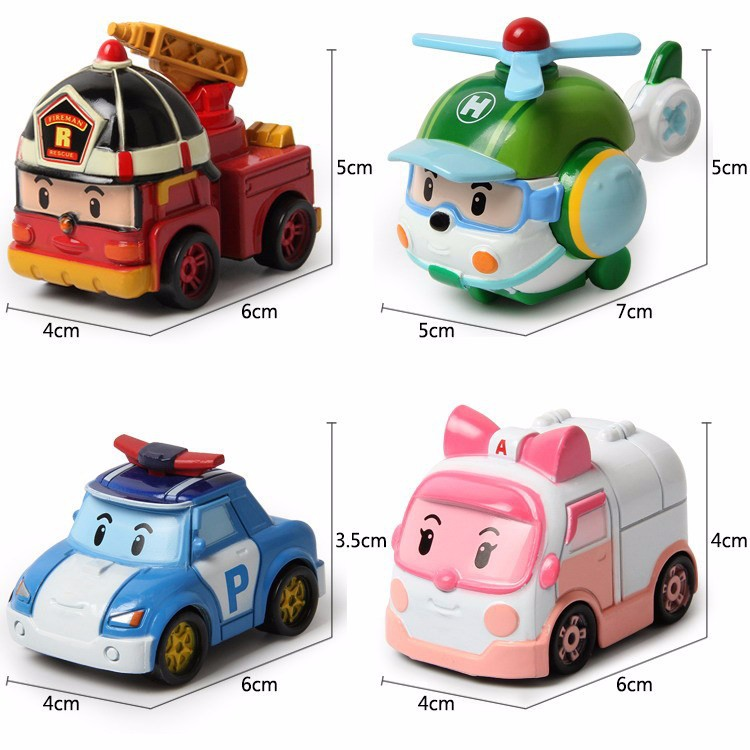 4pcs/set kids toys robot Transform festival gifts deformation helicopter fire truck police action figure doll boys girls toy - Happy Life and Live free store