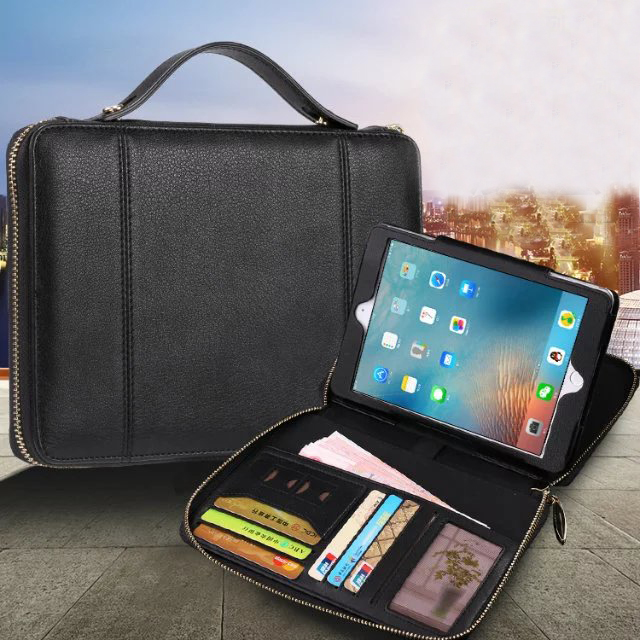 Luxury Business Wallet Stand Leather Case for Apple iPad Mini 1 2 3 Flip Magnetic Smart Cover with Card Bags Hand Strap apple ipad mini smart case black mgn62zm a