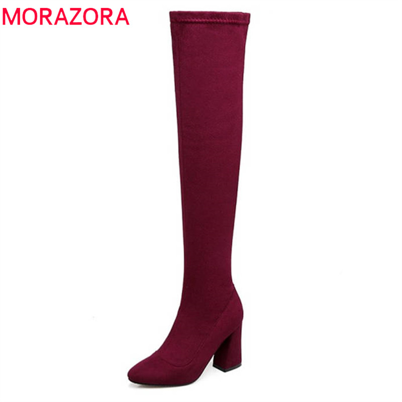 MORAZORA 2018 new arrival pointed toe autumn boots women slip on thigh high boots elegant party shoes high heels shoes blackMORAZORA 2018 new arrival pointed toe autumn boots women slip on thigh high boots elegant party shoes high heels shoes black