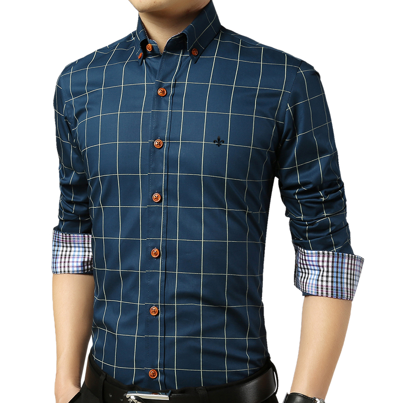 Image 4 - DUDALINA Shirt Male Plaid Without Pocket Men Clothes Slim Fit Men Long Sleeve Shirt Men Casual Men Shirt Social Plus Size M 5XL-in Casual Shirts from Men's Clothing