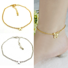 2015 hot sell Women Silver Gold Butterfly Chain Slim Anklet Bracelet Foot Jewelry for Summer Beach  572S