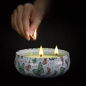 Image 2 - Bougies parfumées de plante en fer blanc 14oz, grand pot, huile essentielle écologique, sans fumée, trois cœurs, lumières