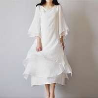 QPFJQD National Wind Women Three Layer Fake Two Piece Dresses Long 2018 Autumn Summer Loose Large Size Cotton Linen Dress White
