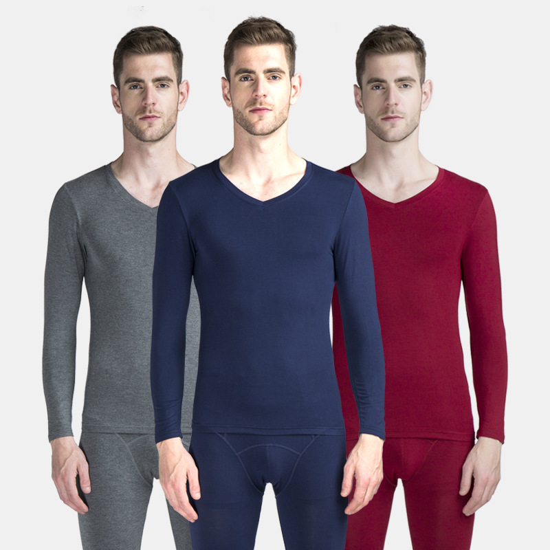 Long Johns Men Modal Thin Thermal Underwear V Neck Elastic Body Shapers Asian Size XL To 6XL Very Large Size