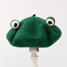 Original Autumn And Winter New Pattern Manual Wool Blanketry Lovely Funny Frog Beret Break Up Gift Send One Top Green Hat
