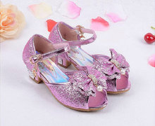 New Summer Princess Sandals Children's Mules Clogs Shoes Kids Girls Wedding Shoes High Heels Leather Bowtie Dress Shoes