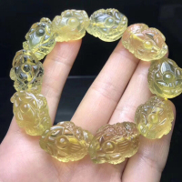 Beautifully Carved Fine Yellow Natural Crystal Bracelets Gold Toad Beads Bracelet Lucky for Women Men Animal Bracelet Jewelry