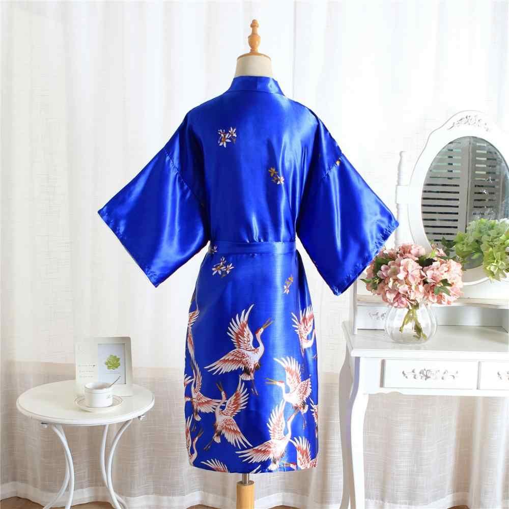 FZSLCYIYI สีดำพิมพ์หญิงชุดนอนผ้าไหมจีนเรยอนชุดเพื่อนเจ้าสาวแต่งงานเซ็กซี่ Nightgown เสื้อคลุมอาบน้ำ Kimono