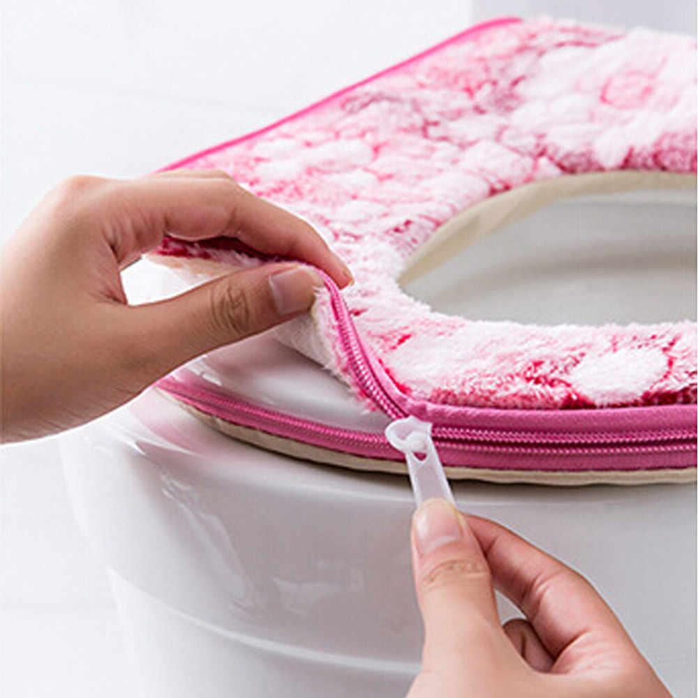 Теплый мягкий чехол для унитаза крышка сиденья верхняя крышка Pad ванная комната теплое сиденье на унитаз чаша мягкая молния цветок моющееся сиденье для унитаза крышка и c