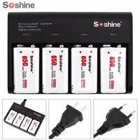 Soshine 4 Slots 9V Battery Smart Charger with LED Indicator + 4pcs 9V 6F22 650mAh High Capacity Li ion Rechargeable Battery