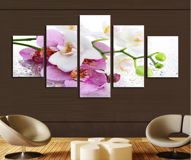 5 panel no framebeautiful pink orchid oil painting on canvas 5 panel no framebeautiful pink orchid oil painting on canvas flowers wall art mightylinksfo