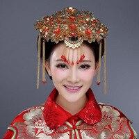 1 pcs noiva mantilha red borla traje de casamento magnata pentear o cabelo acessórios vestido