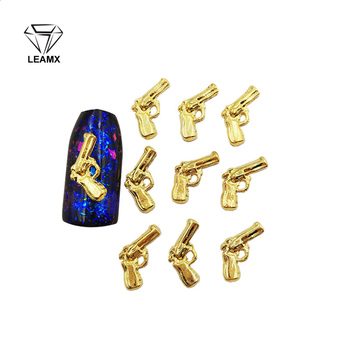 50 PCS/bag Nail Decoration Sticker 3D Pistol Shape Nail Manicure Decorative Charm Alloy Nail Stickers gecko style zinc alloy car decorative stickers golden 2 pcs