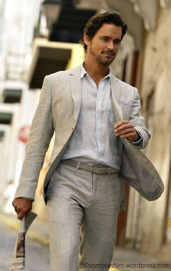 Grey Linen Suit Beach Wedding