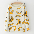 2016 Outono Moda Feminina Malha camisola O-pescoço Fruta banana banana Fruta Imprimir camisolas das mulheres Pullovers tops