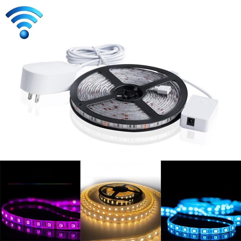5m 60W WIFI RGB LED Strip Light SMD 5050 APP Remote Control Smart Rope Light Works with Alexa & Google Home, US/EU/UK Plug