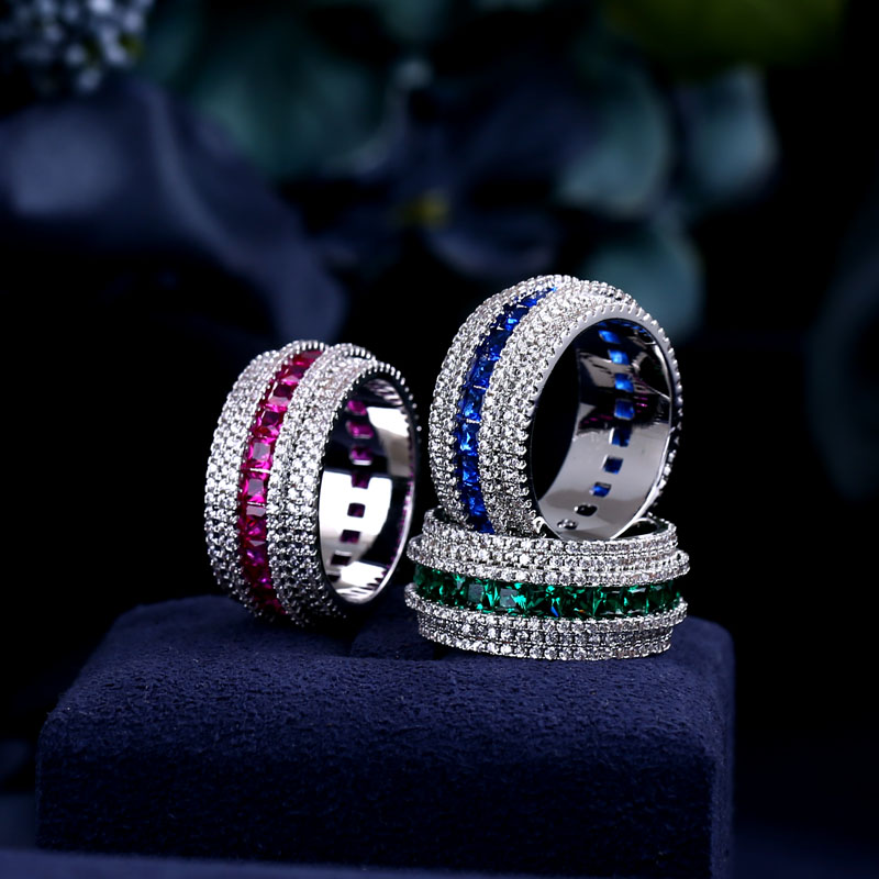 Trendy Women's Jewelry Hand Made Cubic zirconia Ring for Women and Men white gold-color Fashion Rings