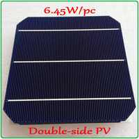 6.45 w/pc mono célula solar mais novo duplo-lado 156mm mono silício mono célula de painel solar (frente 5 w/pc + volta 4.7 w/pc)