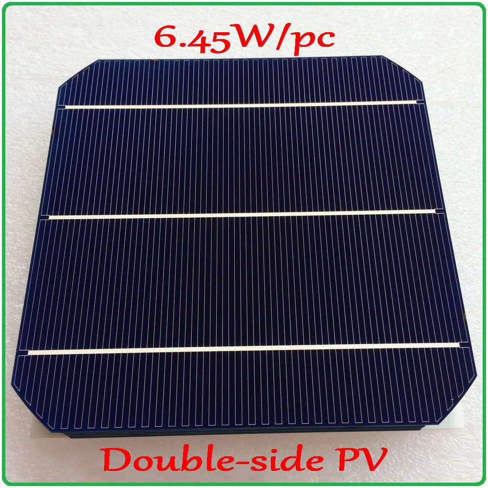 6.45W/pc mono solar cell Newest Double-side 156mm Monocrystalline Mono Silicon Solar Panel Cell ( Front 5W/pc + Back 4.7W/pc )