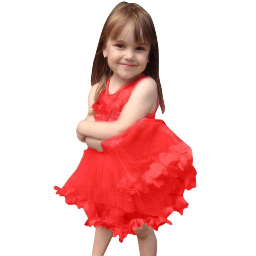 Summer New Fashion Toddler Baby Girls Sleeveless Solid Tulle Dress Floral Dresses Princess Dress Wholesale Free Ship Z4