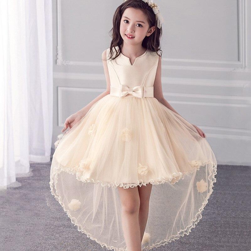 2017 new europe summer girls sleeveless dress flower girl for Shirt dress wedding gown