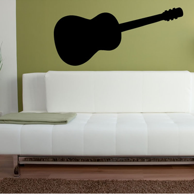 Simple Design Musical Instrument Guitar Silhouette Wall Sticker Living Room Sofa Background Home Decor