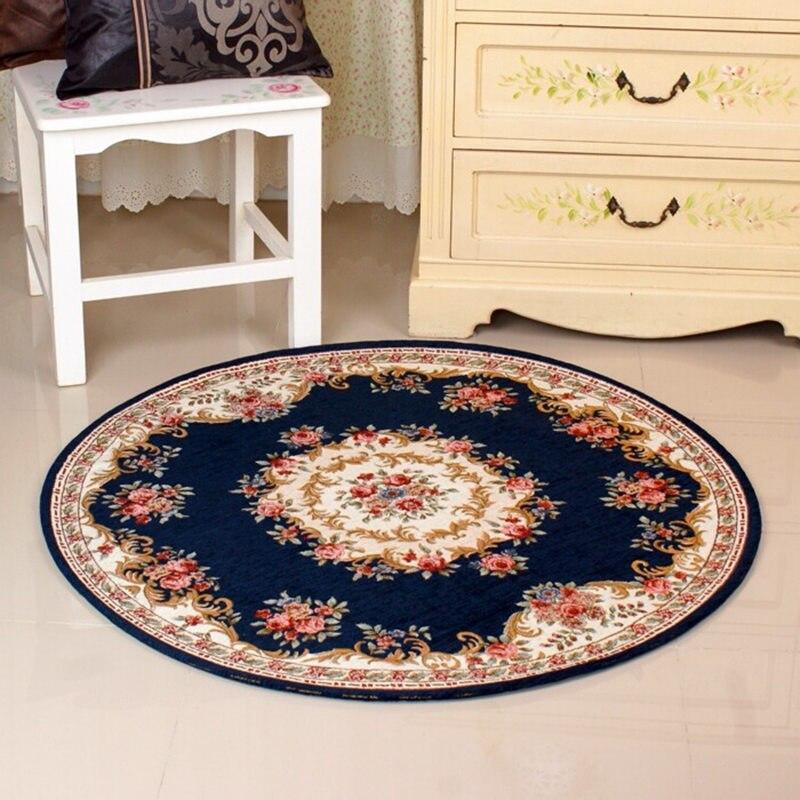 pastoral style round carpet living room bedroom floor mat anti slip kitchen bathroom carpet soft doormats