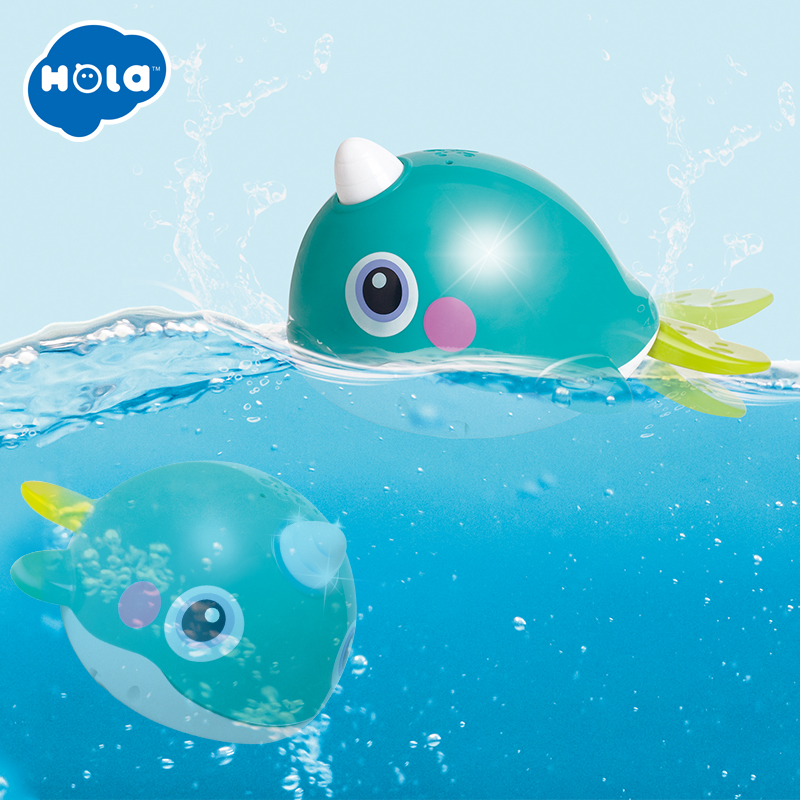 HOLA 8101 Bath Toy Bathing Spouts Bubble Whale Bathroom Toys For Children Water Swimming Shower Kid
