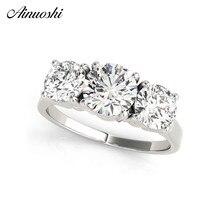 AINUOSHI, 925 пробы, серебро, 1ct, круглая огранка, три камня, кольца для свадьбы, помолвки, свадебные кольца, милые серебряные вечерние ювелирные изделия для влюбленных
