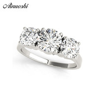 AINUOSHI 925 Sterling Silver 1ct Round Cut Three Stones Rings Wedding Engagement Bridal Rings Lover Cute Silver Party Jewelry