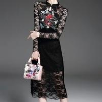 Nowy kobiety haftowane floral lace see through mother of suknia specjalne okazje party wieczór bridemaid hafty dress vestidos