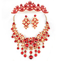 Pretty good three-piece wedding dress accessories bridal jewelry bridal necklace jewelry crown earrings accessories 3021