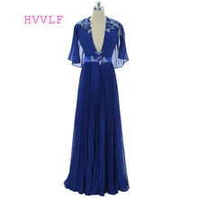 a6ff7041291 Royal Blue 2018 Prom Dresses A-line Deep V-neck Chiffon Lace Pearls Women  Long Prom Gown Evening Dresses Robe De Soiree