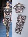 Европа стиль цветочный печати О-Образным Вырезом тонкий карандаш брюки 2017 летние цветочные печати костюмы женские брючные S-XL размер