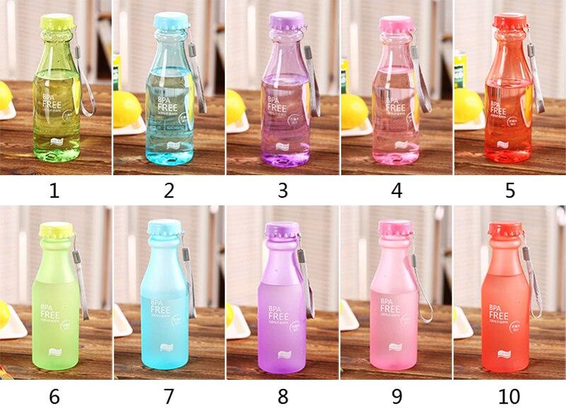 Nueva llegada 500-600 ML lindo plástico Irrompible acampar sistema de infusión de frutas bebida bicicleta deporte Botella de Agua drinkware