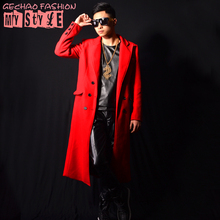 Male costume red long jacket outwear coat slim star show for singer dancer performance nightclub bar groom men  bar fashion