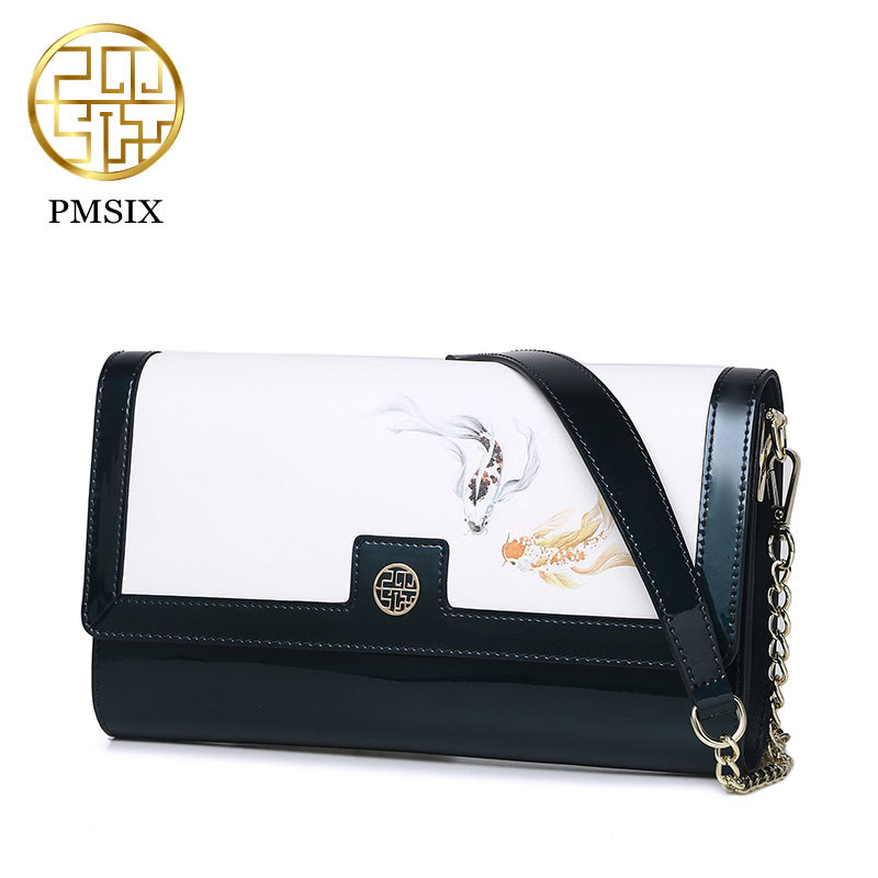 Pmsix 2017 Spring Summer Patent Leather Handbag Female Printing Chain Shoulder Bag Green/Wine Red Fish Printing Bags P220021 patent leather handbag shoulder bag for women