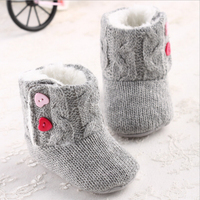 Infant Baby Girls Cotton Knit Soft Winter Warm Snow Boots Heart Button Crib Shoes 0 18