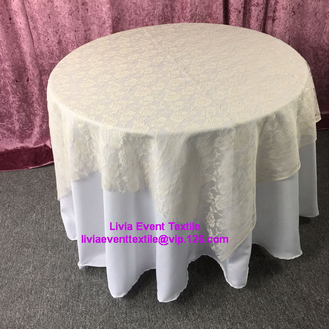 1pcs 130x130cm Ivory Square Lace Table Overlay For Wedding Event U0026Party  U0026Hotel U0026Resturant Decoration