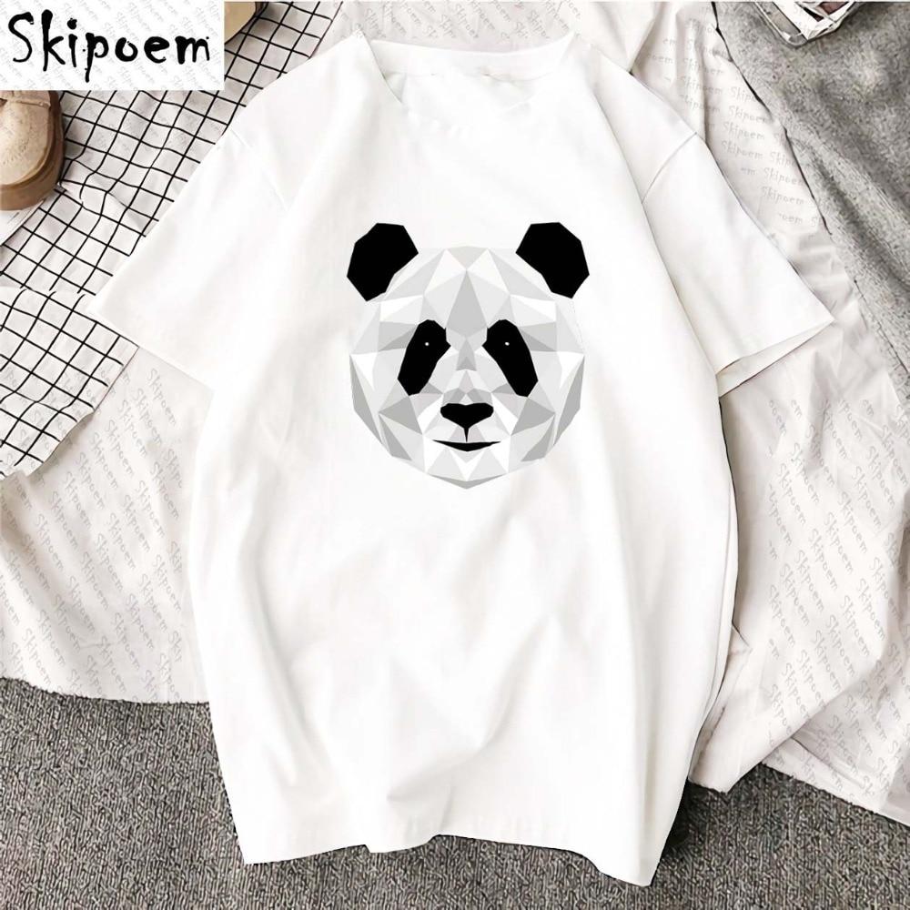 Новая хлопчатобумажная женская футболка, модная повседневная футболка унисекс с рисунком панды