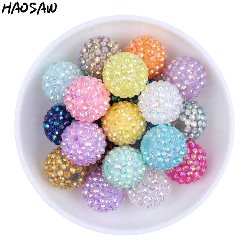 Choose Colors 20MM 100Pcs/Lot Fashion Jewelry Chunky Resin Rhinestone Beads Chunky Beads ...