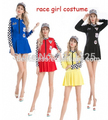 Free Shipping  real photo fancy dress sexy girl race costume cheerlerader costume costume plus size S-2XL