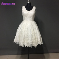 Real Photos French 3D Lace Ivory Short Ball Gown Prom Dresses 2017 Custom Size And Colors
